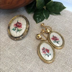 Vtg Hand Embroidered Brooch & Screw Earrings